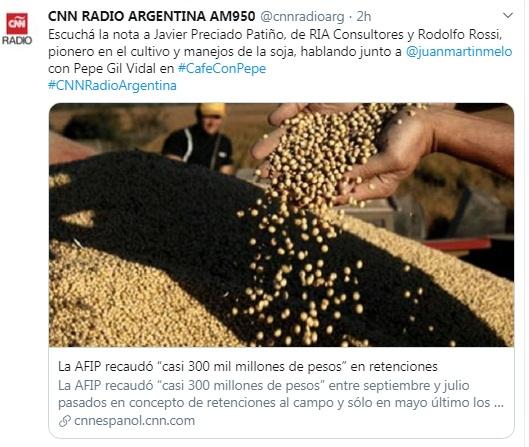 RIA Consultores: entrevista en CNN Radio con Juan Martín Melo sobre retenciones